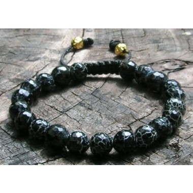 Faceted Black Fire Wrist Mala