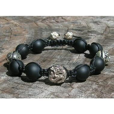 Black Onyx and Sterling Silver Dragon & Skulls Shamballa Macrame Bracelet