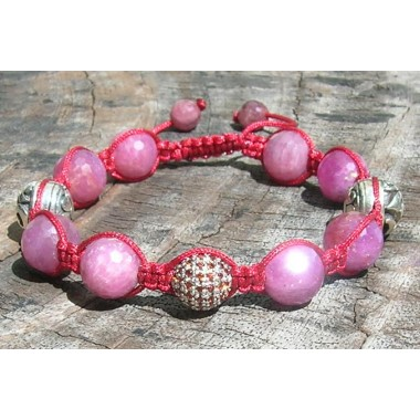 Faceted Ruby Shamballa with Silver Pave Garnet & Silver Om beads