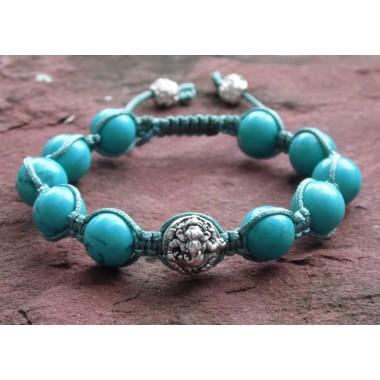 Turquoise & Sterling Silver Ganesh Shamballa Bracelet
