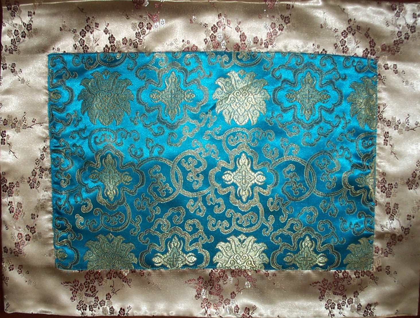 Buy Wholesale Turquoise Lotus Flowers Gold Blossoms Silk Brocade