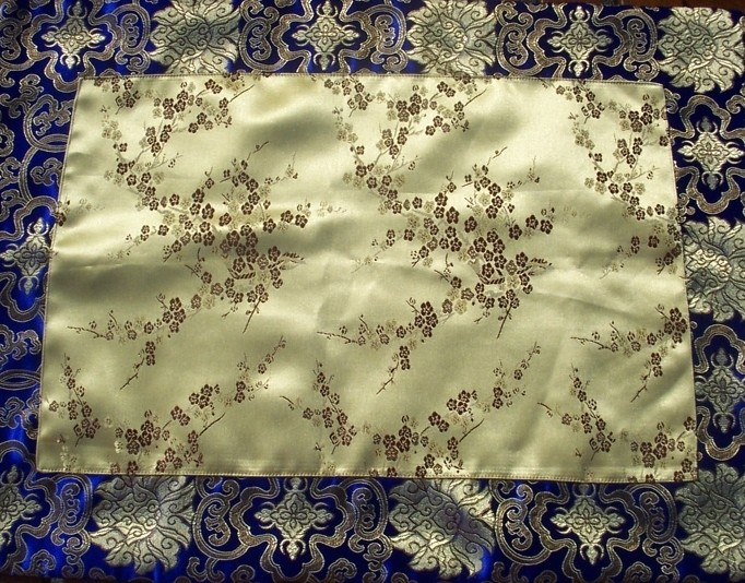 Buy Wholesale Gold Blossoms Blue Lotus Flowers Silk Brocade Puja