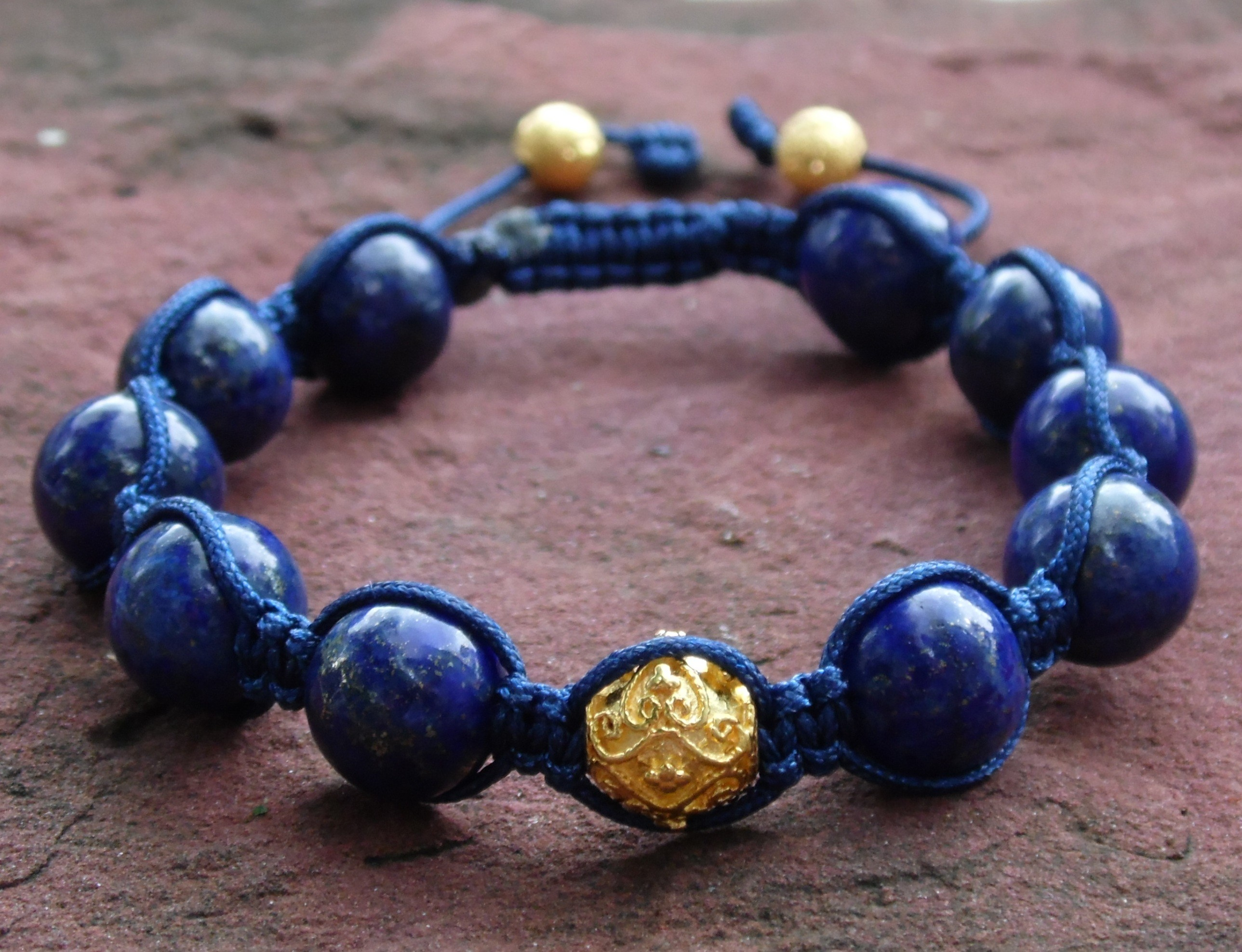 bead product black bracelets natural round mala fashion from stone bracelet beads lapis yoga onyx matte gold buddha lazuli