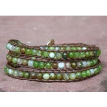 Green & Brown Sardonyx Agate Wrap Bracelet