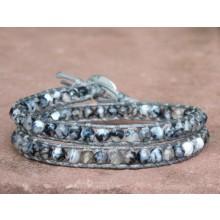 Grey Fire Agate Wrap Bracelet