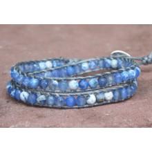 Sky Blue Fire Agate Wrap Bracelet