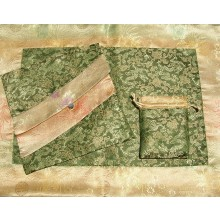 Olive Dragons & Tan Medallions Silk Brocade Puja Table Cloth