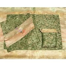 Olive Dragons & Tan Medallions Silk Brocade Puja Table Cloth