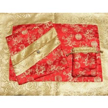 Red Dragons & Yellow Roses Silk Brocade Puja Table Cloth (