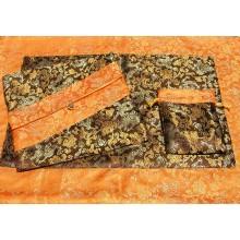 Brown & Yellow Dragons Silk Brocade Puja Table Cloth