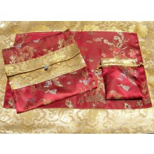 Burgundy Dragons & Gold Lotus Flowers Silk Brocade Puja Table Cloth