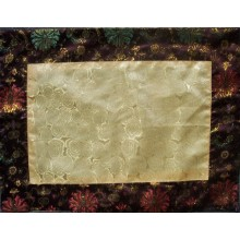 Yellow Roses & Brown Golden Lotuses Silk Brocade Puja Table Cloth