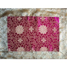 Pink Lotus Flowers & Gold Dragons Silk Brocade Puja Table Cloth