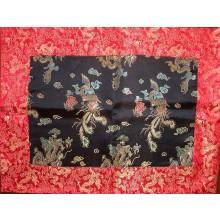 Black & Red Dragons Silk Brocade Puja Table Cloth