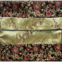Brown & Red Floral with Gold Blossoms Brocade Text Cover