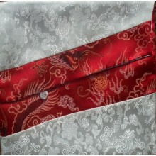 White & Red Dragons Brocade Text Cover