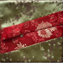 Gold Blossoms & Red Flowers Brocade Text Cover