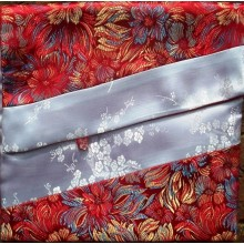 Red Flowers & White Blossoms Brocade Text Cover