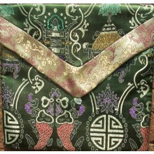 Olive Medallions & Gold Dragons Brocade Text Cover
