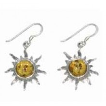 Sun Earrings with Amber