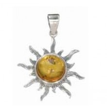 Sun Pendant with Amber