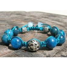 Apatite & Sterling Silver Om Shamballa Bracelet