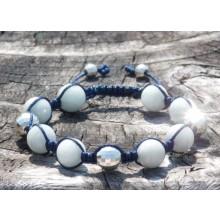 Aquamarine & Silver Shamballa Bracelet