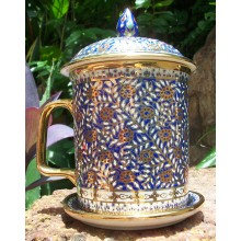 Blue and White Leaf Mug