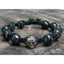 Black Fire Agate & Sterling Silver Skull Shamballa Bracelet