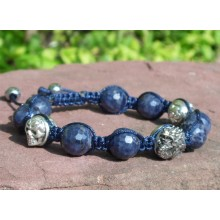 Blue Sapphire Silver Dragon & Skulls Shamballa Bracelet