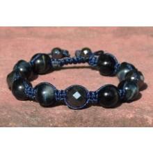 Blue Tigers Eye Shamballa Bracelet with Hematite