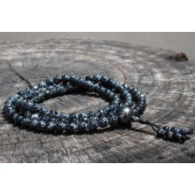 Agate; Faceted Black Fire Agate Malas