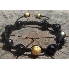Onyx Shamballa Bracelet with Diamond Cut Gold