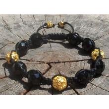 Onyx Shamballa Bracelet with Gold