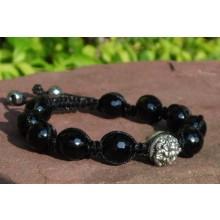 Black Onyx Shamballa Bracelet with Silver Ganesh Bead
