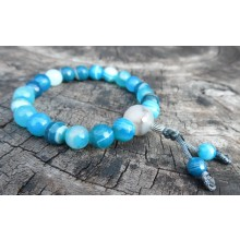 Faceted Blue Sardonyx Agate Wrist Mala