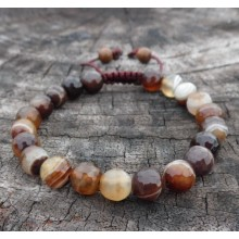Faceted Brown Sardonyx Agate Wrist Mala