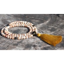 Faceted Brown & White Fire Agate Dzi Beads Malas