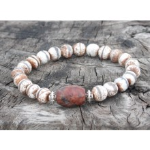 Faceted Brown & White Fire Agate Dzi Beads Wrist Mala