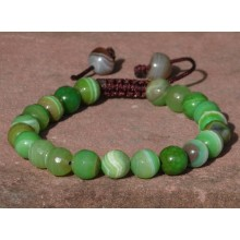 Faceted Green Sardonyx Agate Wrist Mala