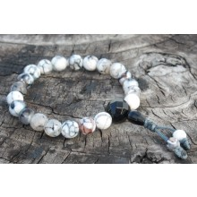 Faceted Grey Fire Agate Wrist Mala
