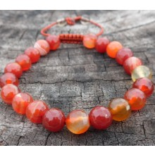 Faceted Orange Sardonyx Agate Wrist Mala