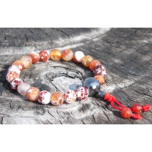 Faceted Red Fire Agate Wrist Mala