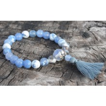Faceted Sky Blue Fire Agate Wrist Mala