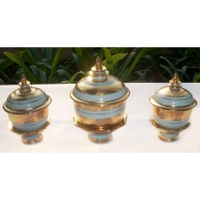 "3"" Gold Flowers Tea & Sake & 4"" Ink Set with Stands"