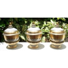 "3"" Gold Drip Design Tea, Sake & Ink Set with Stands"