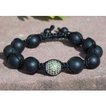 Matte Black Onyx and Green CZ's Pavé Shamballa Macrame Bracelet