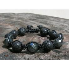 Lava Rock & Faceted Hematite Shamballa Macrame Bracelet