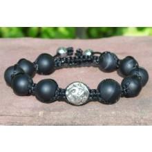 Sardonyx Agate Shamballa Bracelet with Silver Om Bead