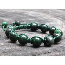 Mawsitsit and Emerald Shamballa Macrame Bracelet